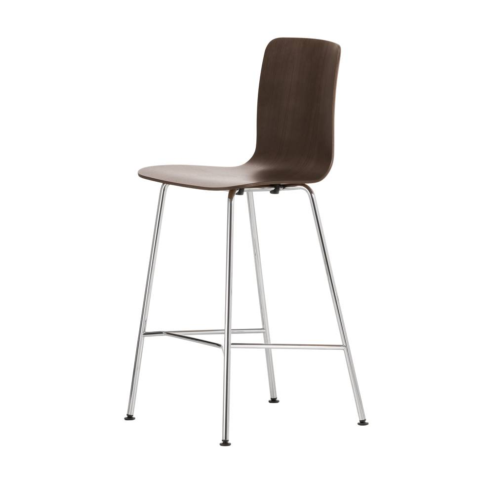 Dark Brown Medium Hal Stool With Light-Coloured Metal Legs