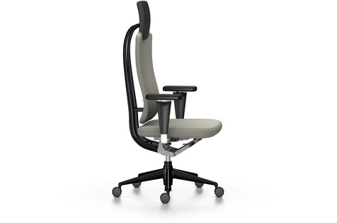 Grey High-Backed Office Chair with Armrests and Wheeled Legs