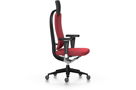 Red High-Backed Office Chair with Armrests and Wheeled Legs