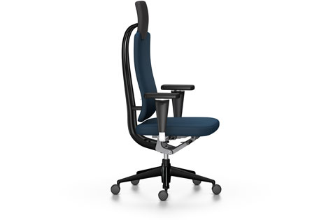 Blue High-Backed Office Chair with Armrests and Wheeled Legs