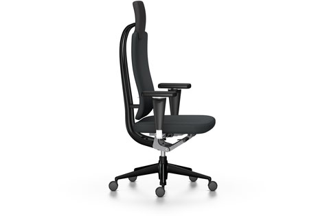 Black High-Backed Office Chair with Armrests and Wheeled Legs