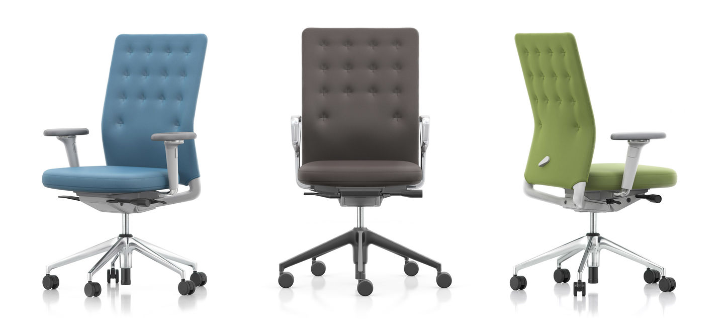 ID Trim Office Chair with armrest in Blue, Slate, and Green