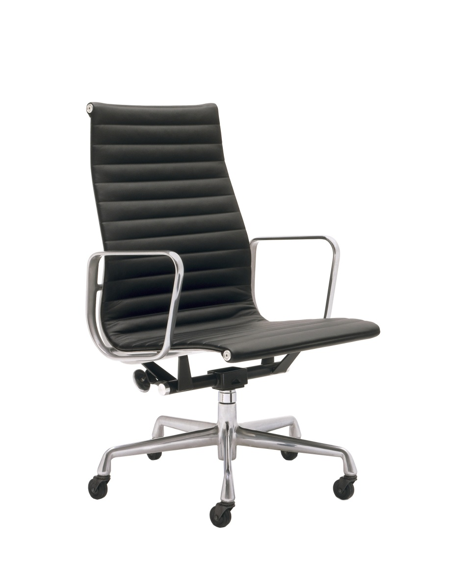 Eames Aluminum Office Chair with Armrest, Backrest, Light Metal Legs