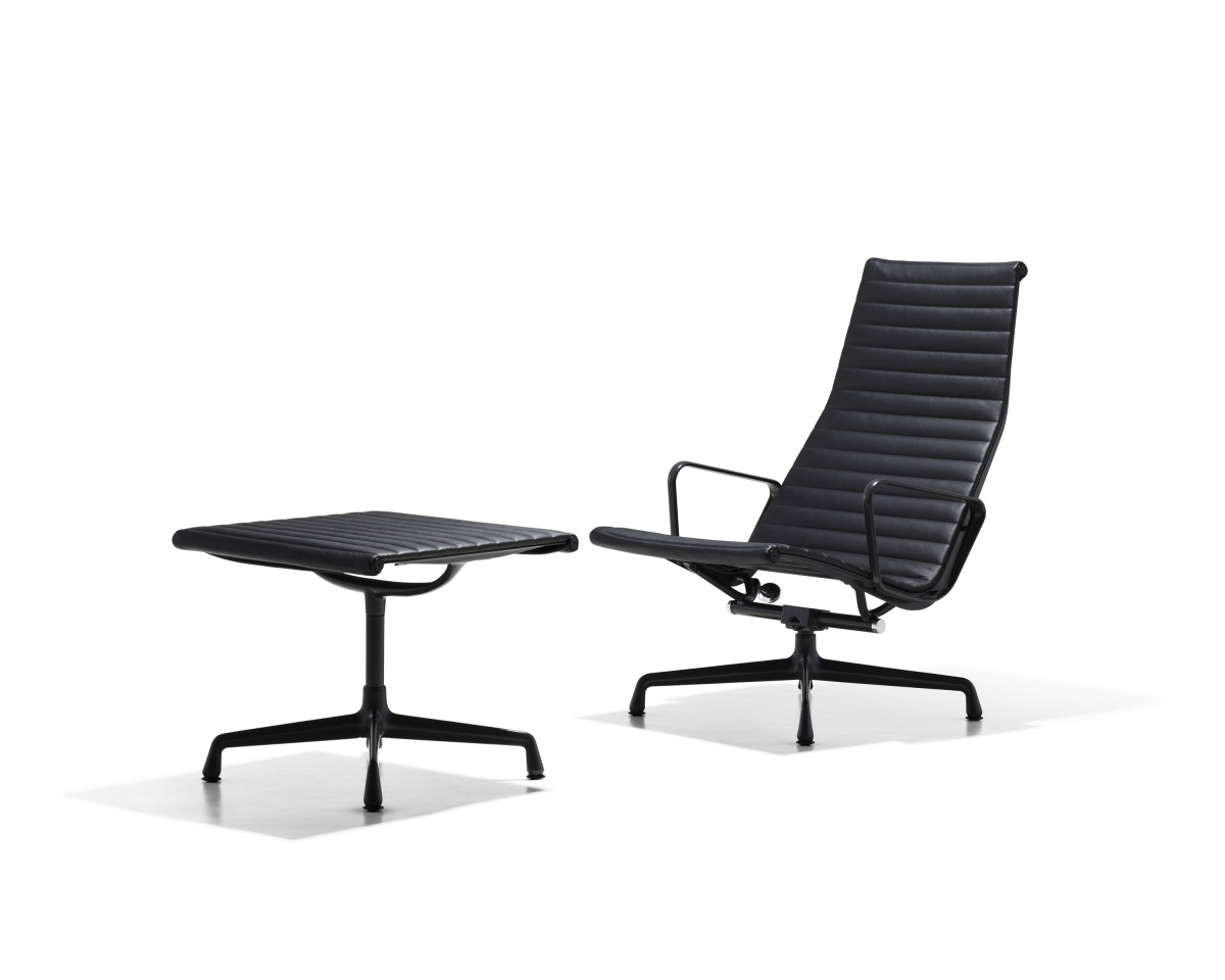 Eames Aluminum Office Chair with Light Metal Legs, Backrest, no Armrest, with Ottoman