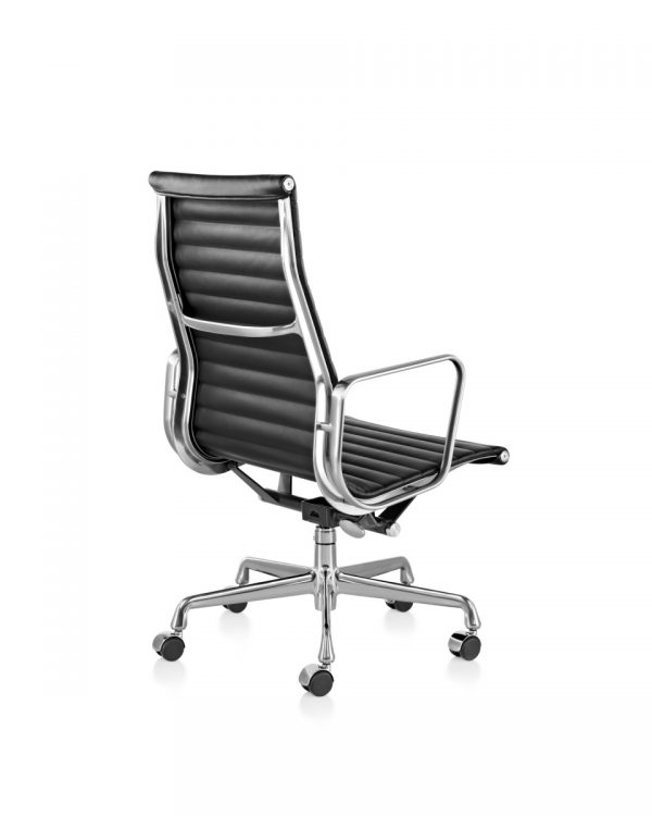 Eames Aluminum Office Chair with Armrest and Light Metal Legs