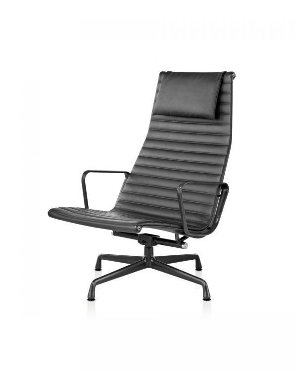 Eames Aluminum Office Chair with Armrest and Dark Metal Legs
