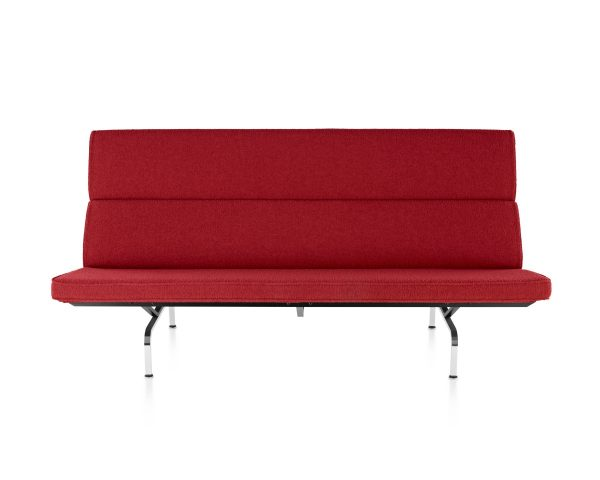Red Eames Compact Sofa with metal frame and legs