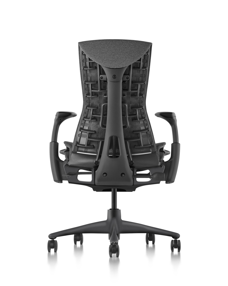 Embody Chair with high back, armrest, and wheeled legs