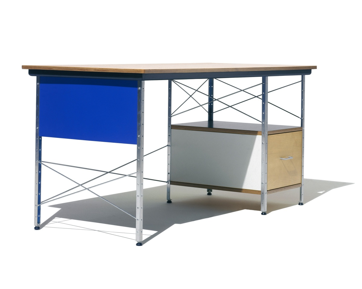 Eames Desk with Blue paneling, white drawer, and open shelf