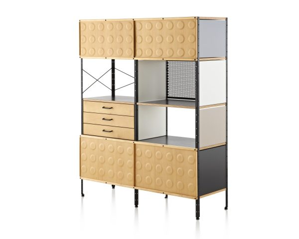 Eames Storage Unit with Brown Dotted, Mesh, and Flat Paneling, and Drawers with Metal Support