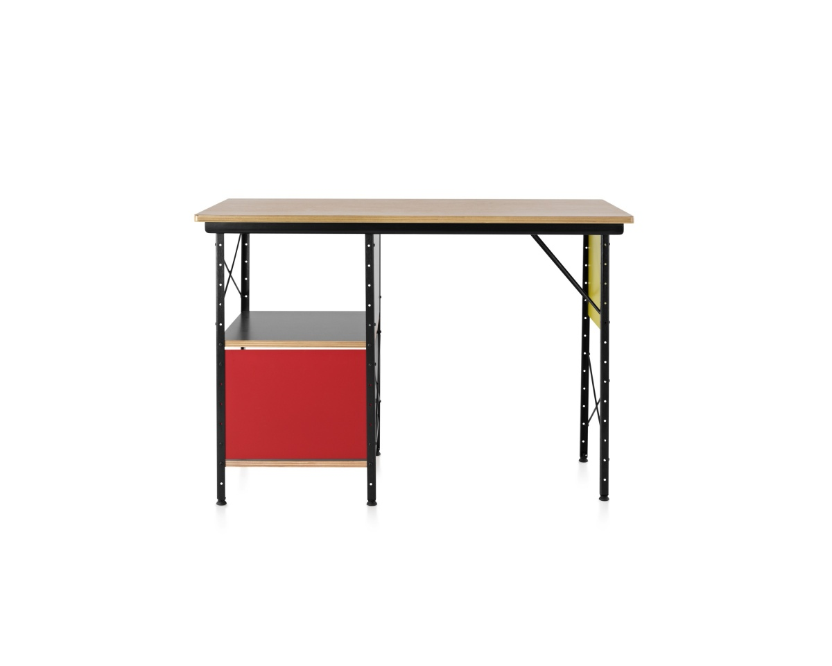 Eames Desk with paneling, red drawer, and open shelves