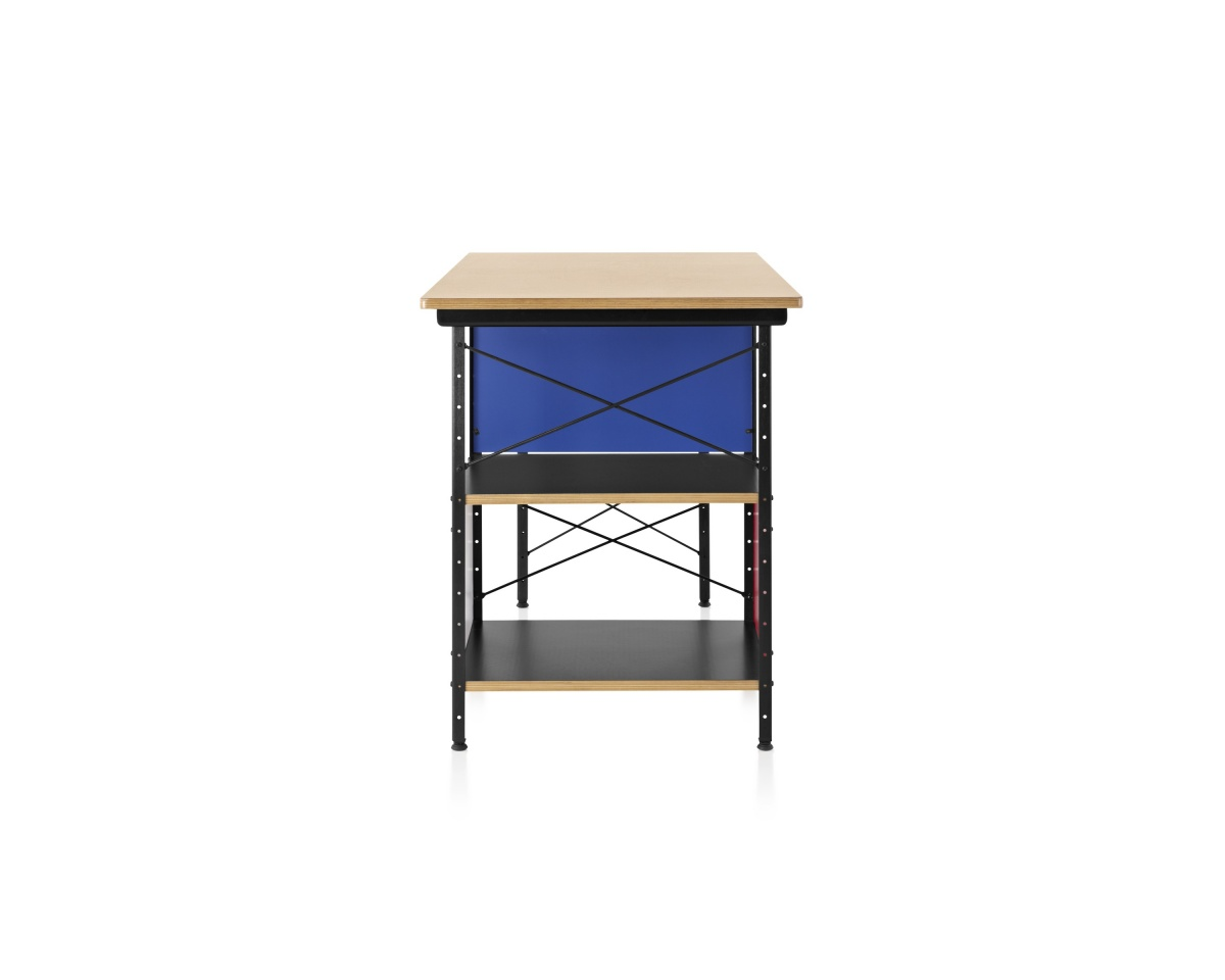Eames Desk with Blue paneling and open shelves