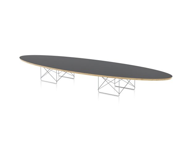 Elliptical Eames Wire Base Table with Black Tabletop and Wood Pattern Piping