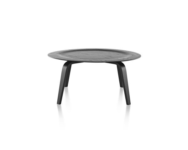 Eames Moulded Plywood Dark Wood Pattern Coffee Table with Depressed Center