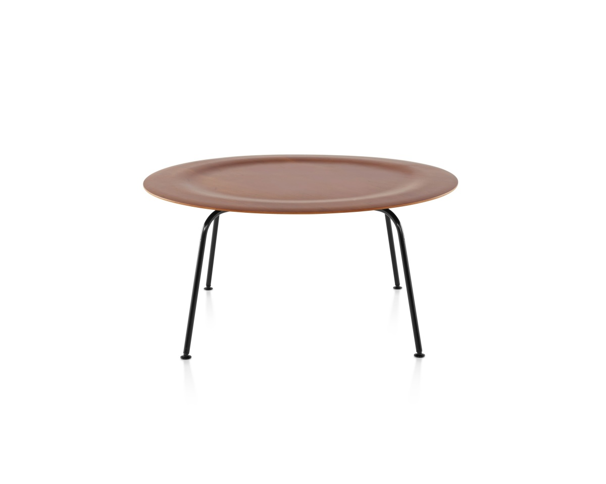 Eames Moulded Plywood Flat Colour Coffee Table with Depressed Center and Metal Legs