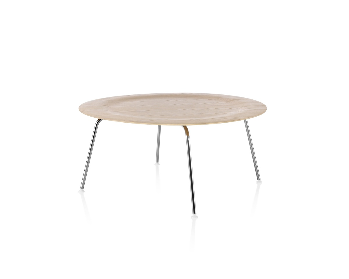 Eames Moulded Plywood Wood Pattern Coffee Table with Depressed Center and Metal Legs