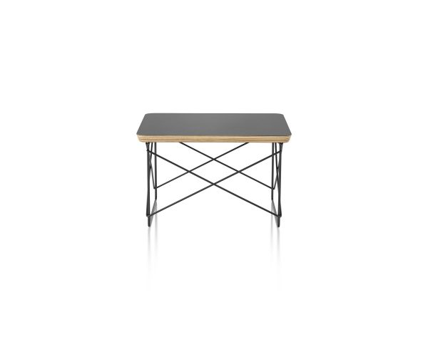 Eames Wire Base Low Table with Black Tabletop and Wood Pattern Piping