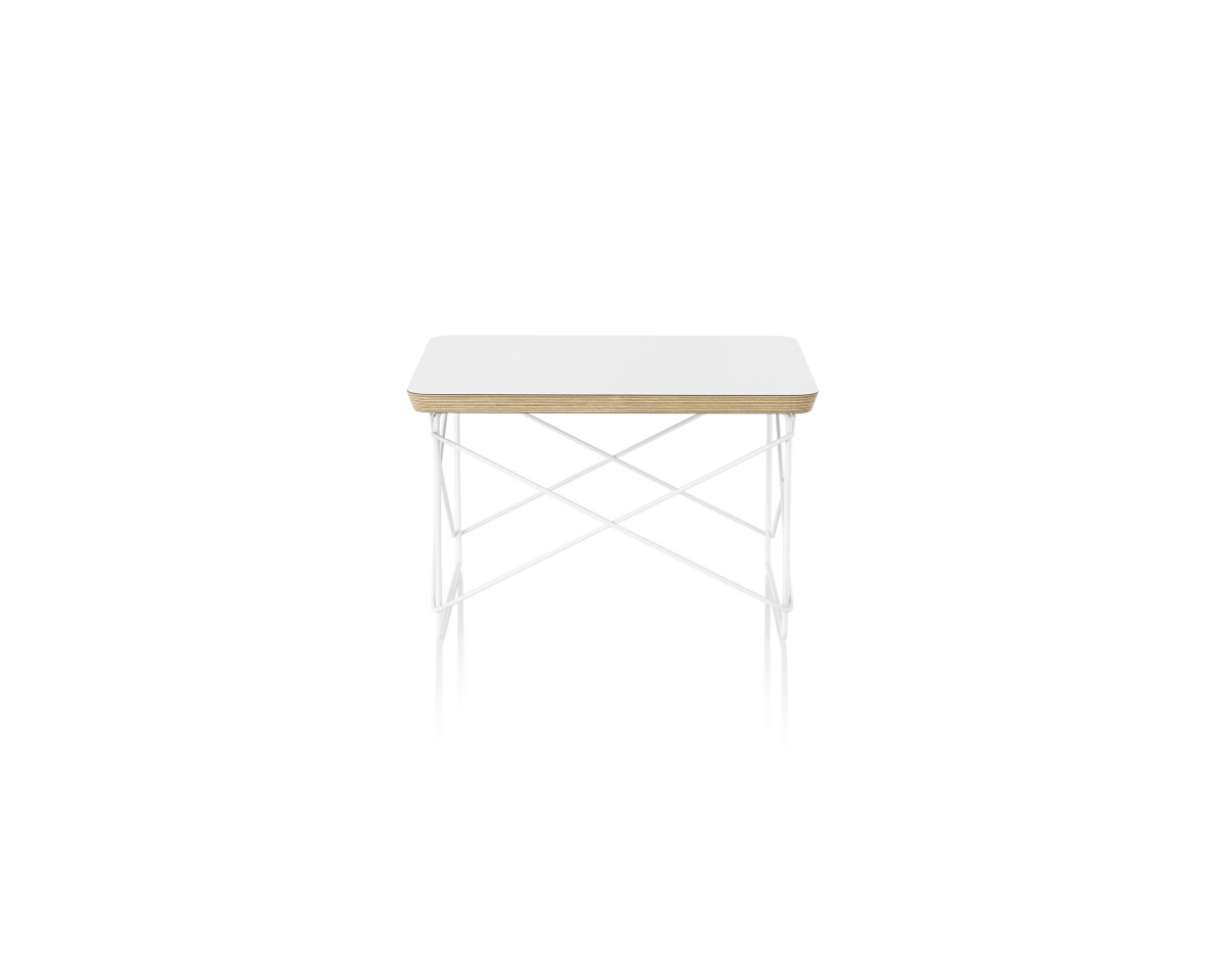 Eames Wire Base Low Table with White Tabletop and Wood Pattern Piping