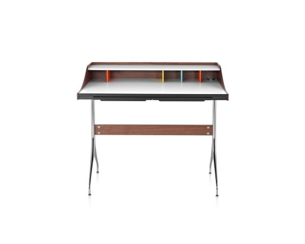 Nelson Swag Leg Desk with white tabletop and wood pattern frame and multicoloured compartment dividers