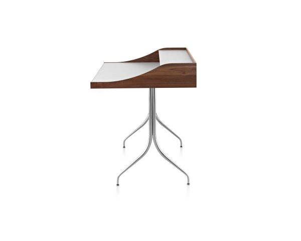 Nelson Swag Leg Desk with white tabletop and wood pattern frame