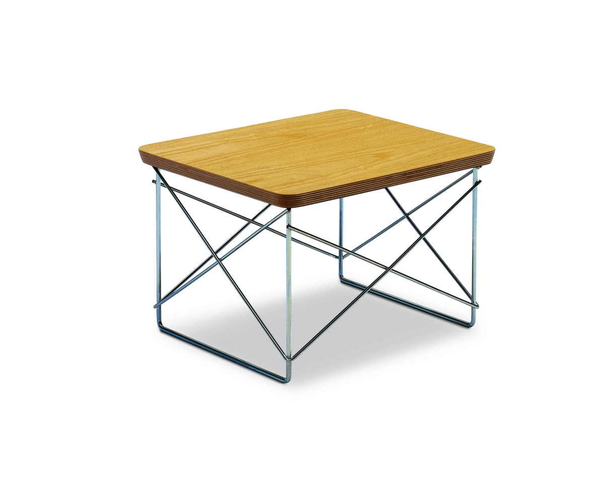Eames Wire Base Low Table with Wood Pattern Tabletop