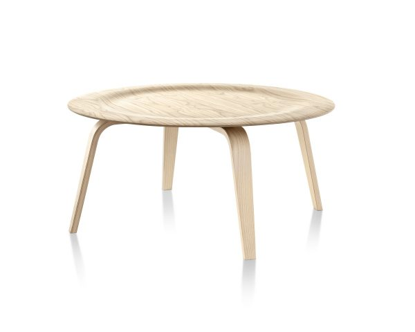Eames Moulded Plywood Wood Pattern Coffee Table with Depressed Center