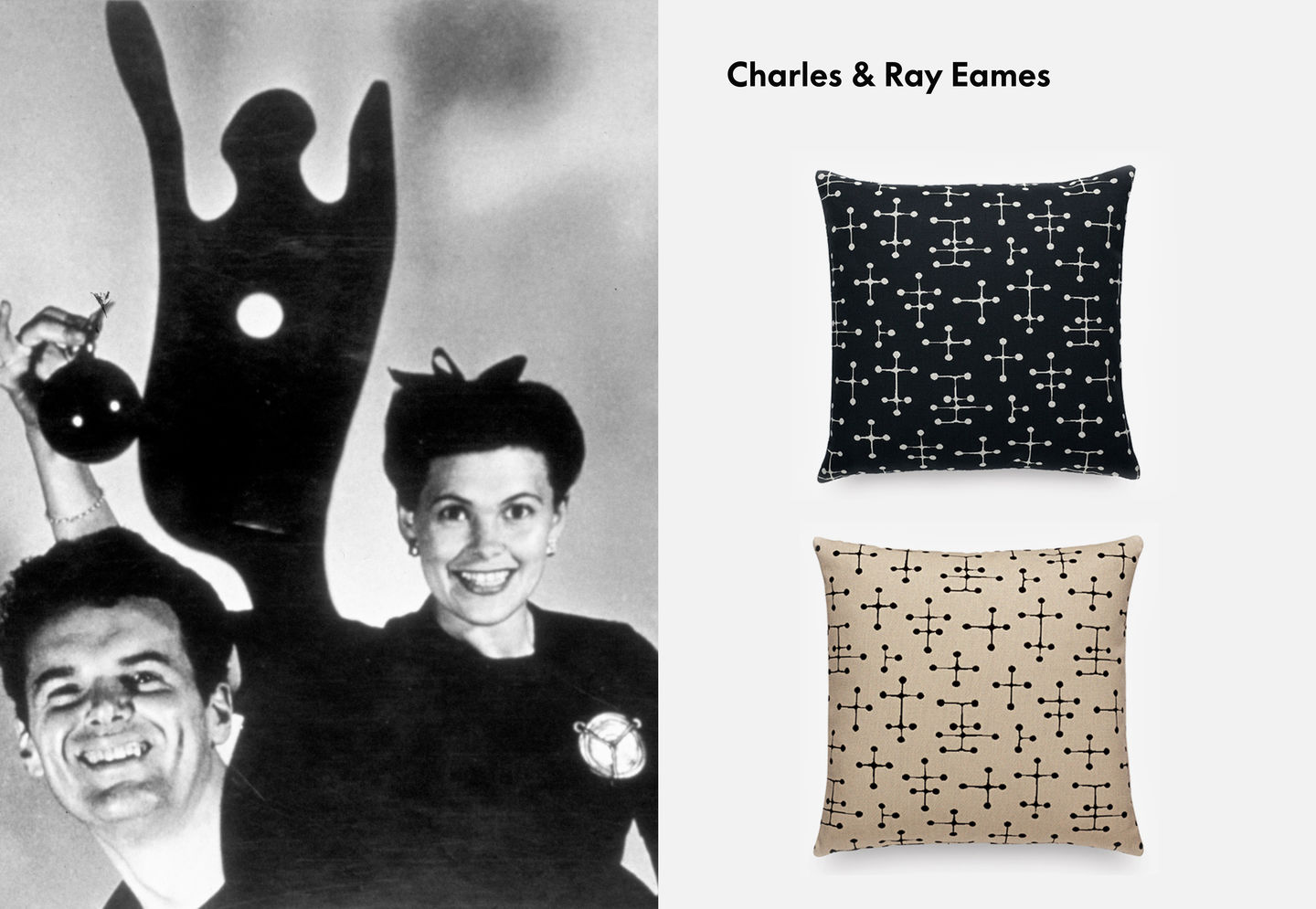 Charles & Ray Eames pictured with Maharam Pillows