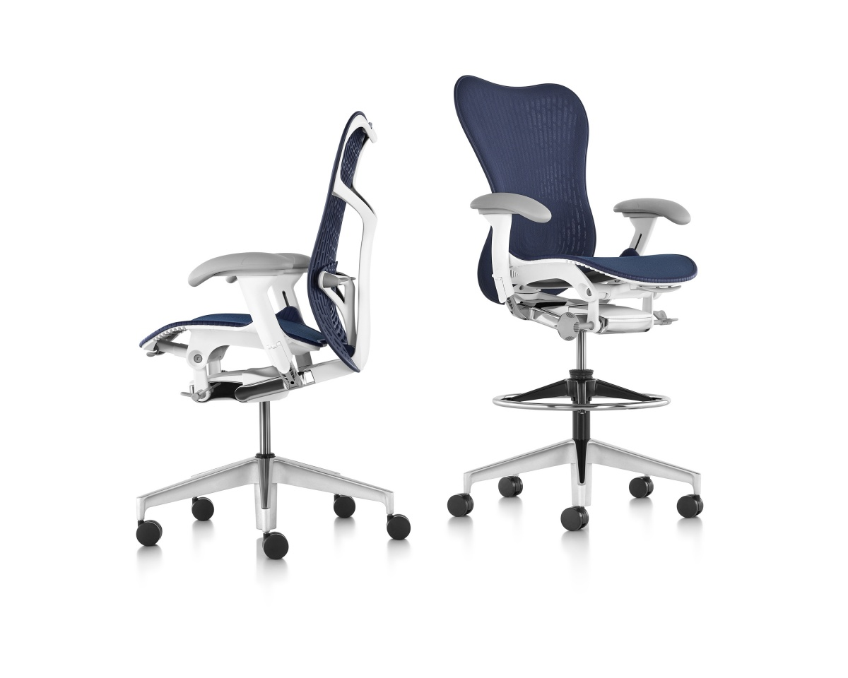 Blue Mirra 2 Stool with Metal Armrests and Five Wheeled Legs
