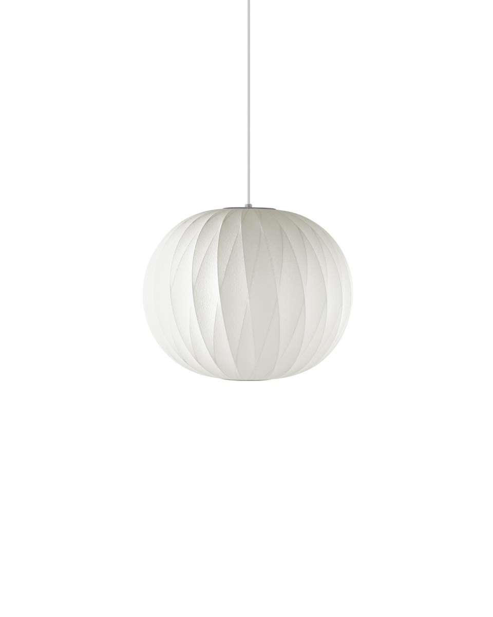 White Nelson Ball crisscross Bubble Pendant