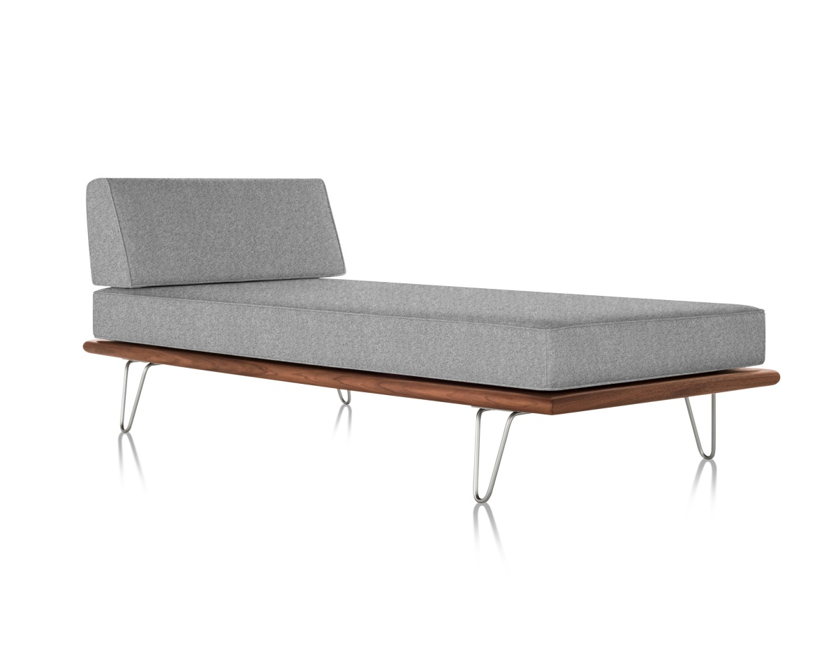Dark Grey Nelson Daybed with Dark-Coloured Moulded Plywood Frame and Metal Looped Legs