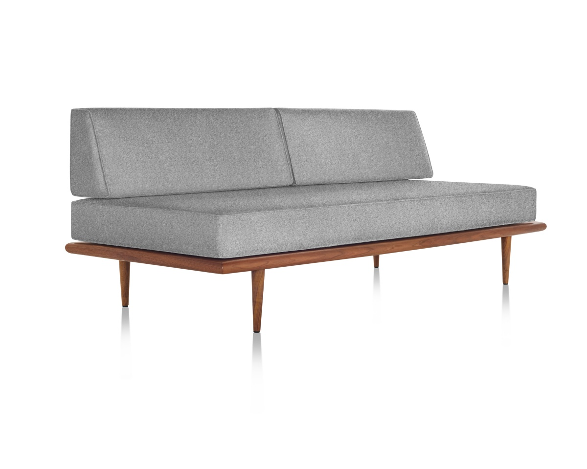 Dark Grey Nelson Daybed with Moulded Plywood Frame and Legs