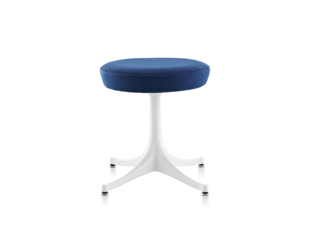 Blue Plush Nelson Pedestal Stool with Metal Legs
