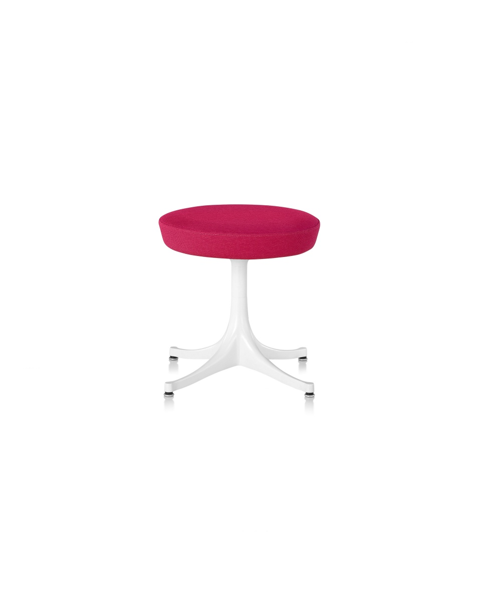 Fuschia Plush Nelson Pedestal Stool with Metal Legs