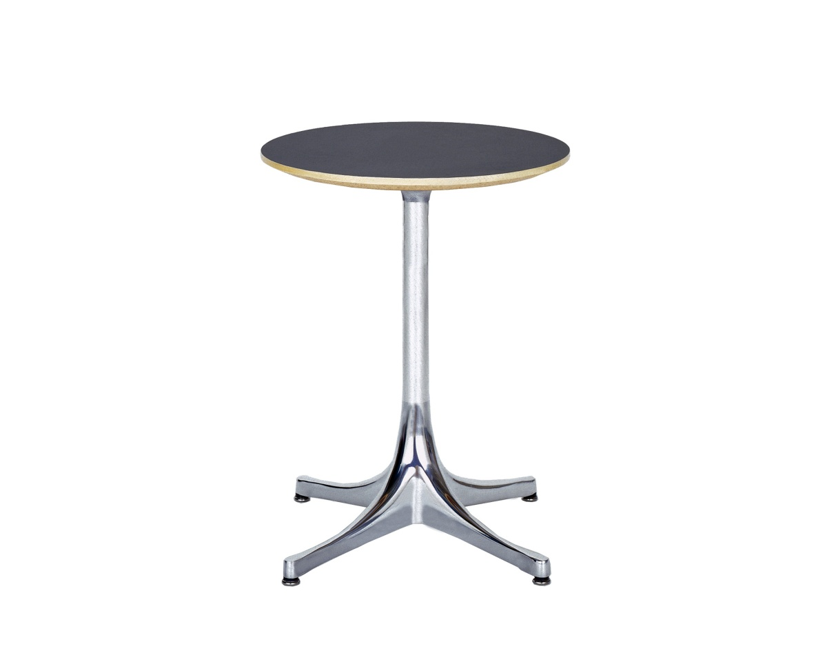 Round Nelson Pedestal Table with dark-coloured tabletop and white legs