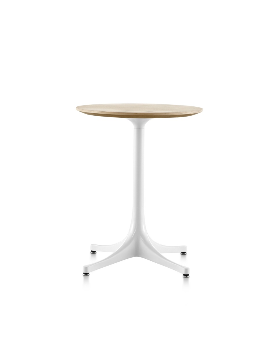 Round Nelson Pedestal Table with wood pattern tabletop and white legs