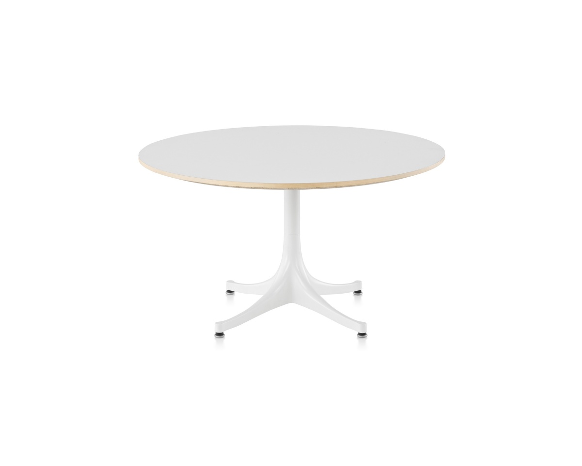 Round Nelson Pedestal Table with white legs