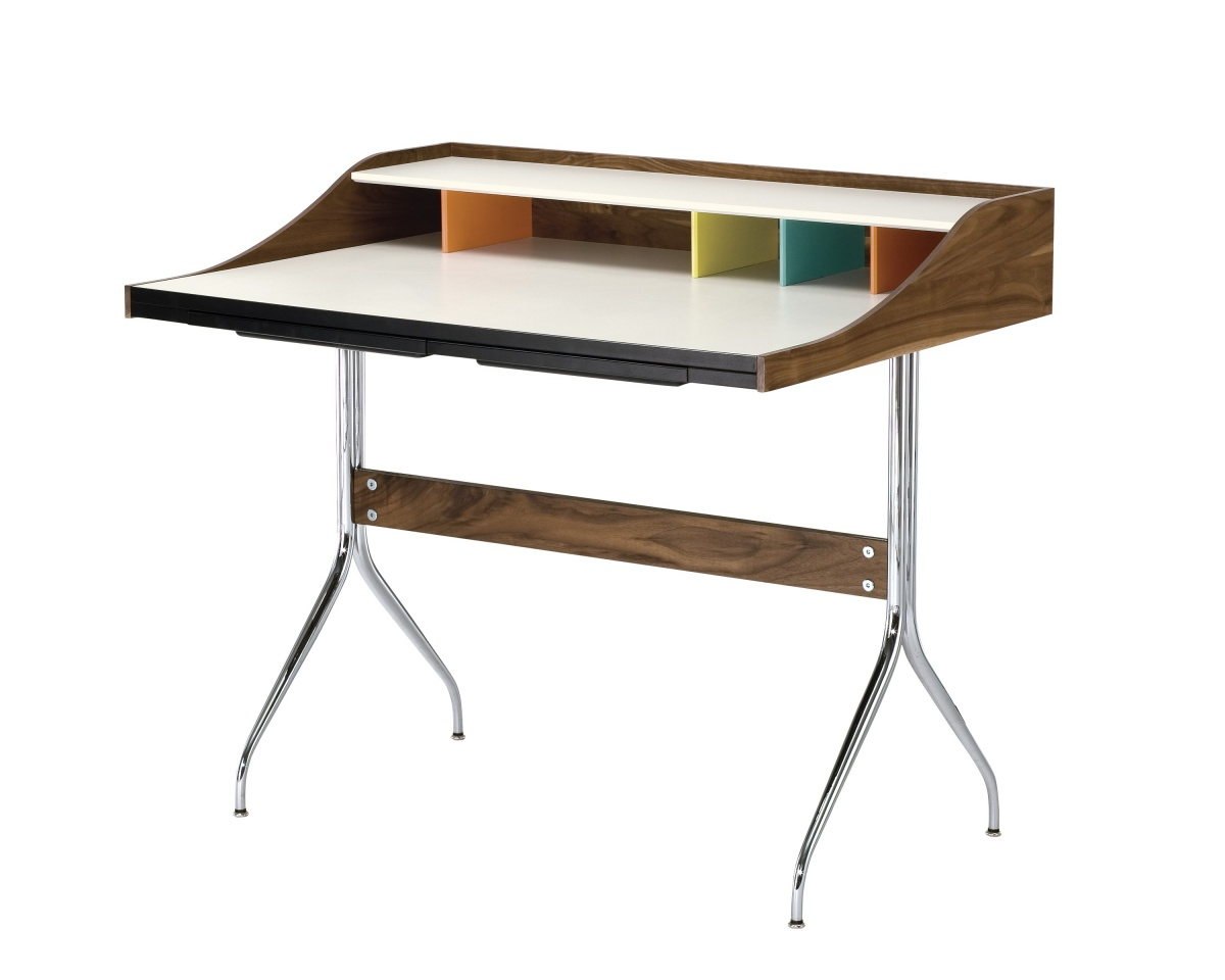 Nelson Swag Leg Desk with Wood Pattern, Moulded Plywood Support, and Metal Legs