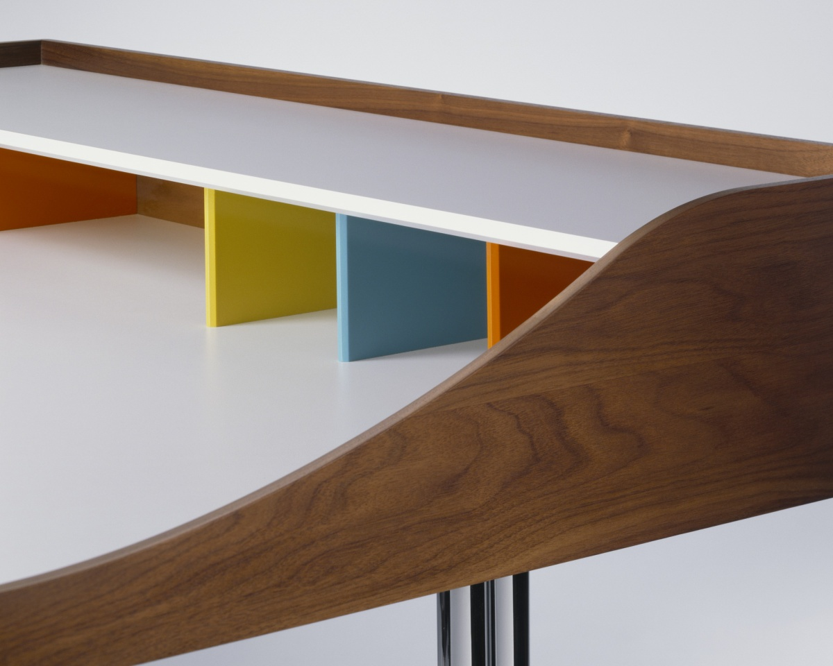Nelson Swag Leg Desk with multi-coloured compartment dividers