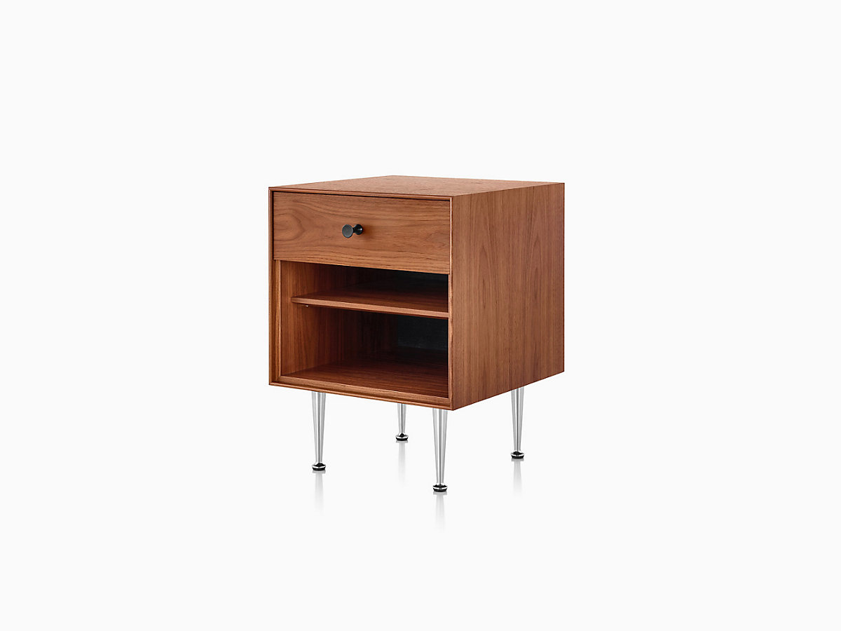 Brown Nelson Thin Edge Cabinet with Open Compartment, Drawer with Handle, and Metal Legs