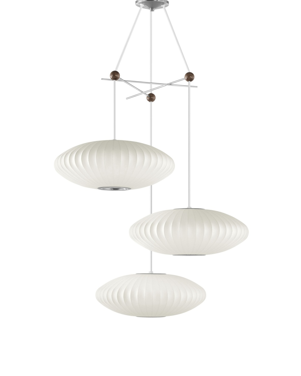 White Nelson Triple Bubble Lamp Fixture