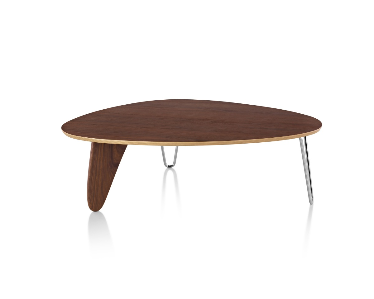 Assymetrical Noguchi Rudder Table with Dark Wood Pattern Tabletop and Metal Legs