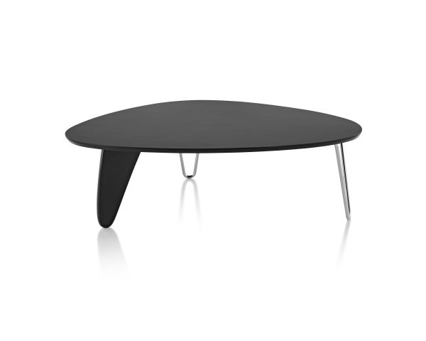 Assymetrical Noguchi Rudder Table with Dark Tabletop and Metal Legs