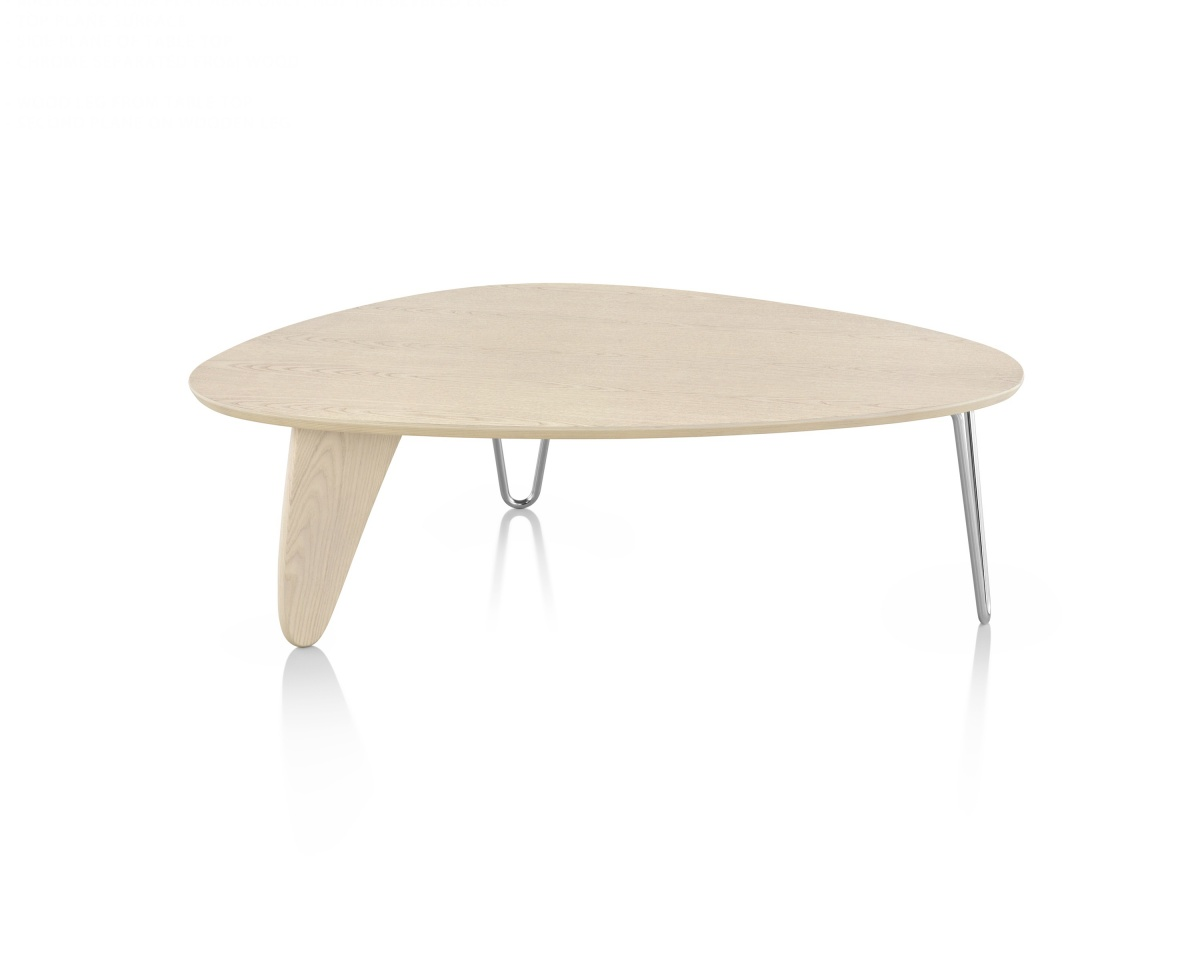 Assymetrical Noguchi Rudder Table with Wood Pattern Tabletop and Metal Legs