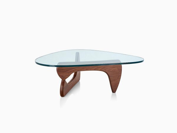 Assymetrical Noguchi Table with Glass Tabletop and Wood Pattern Moulded Plywood Support Base