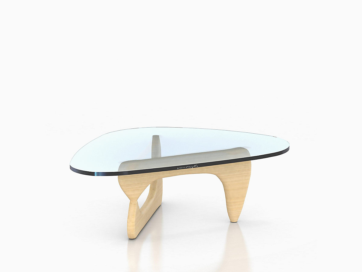 Assymetrical Noguchi Table with Glass Tabletop and Light-Coloured Moulded Plywood Support Base