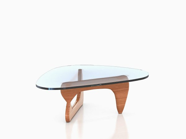 Assymetrical Noguchi Table with Glass Tabletop and Moulded Plywood Support Base