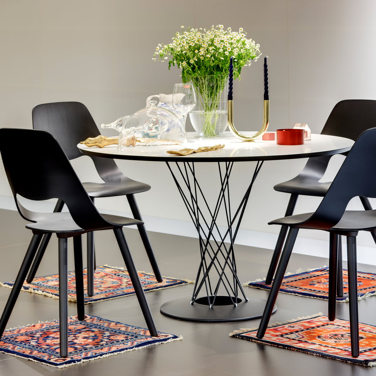 Round Dining Table with Metal Support and Base featured with other furniture