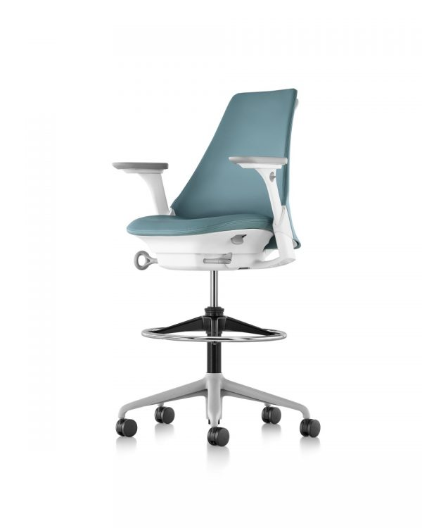 Blue Sayl Stool with White Body, Grey Armrests and Metal Wheeled Legs