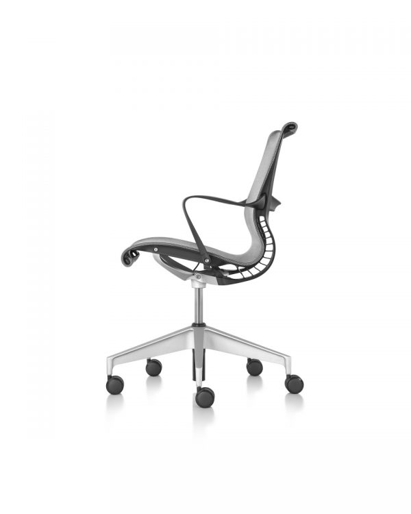 Black Setu Office Chair with armrest and metal wheeled legs
