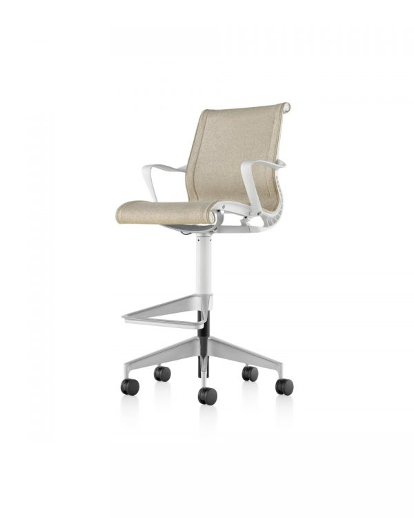 Light Beige Setu Stool with Armrest, Footrest and Wheeled Legs
